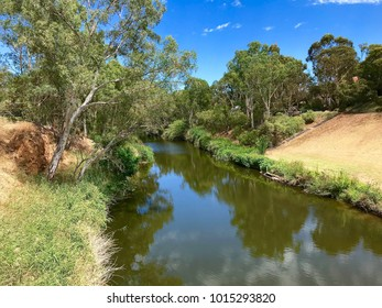 The River Torrens in Adelaide, South Australia, looking downriver from the Gilberton Swing Bridge.
