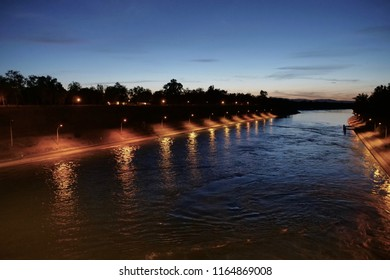 river transport ship channel to sluice at Kembs during evening, France.