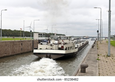 river transport ship in a sluice in  Holland