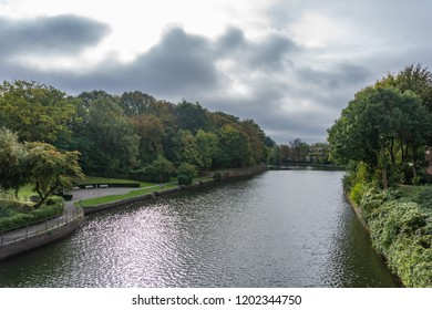 The river Trave in Lübeck, Germany