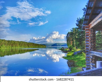 river with tree house of russia irkutsk