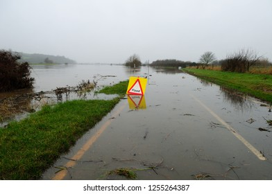 The river Trent at Hoveringham in Nottinghamshire burst its banks and closes road.