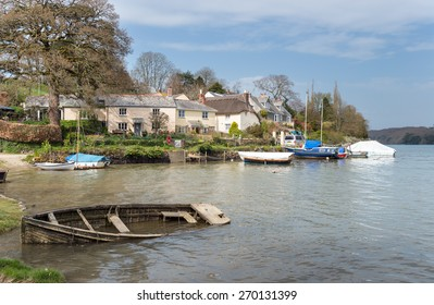 The river Tresillian as it flows past St Clement a small picturesque parish on the outskirts of Truro in Cornwall