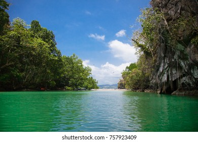 River in  the tropical jungle  at  Palawan island. Philippines