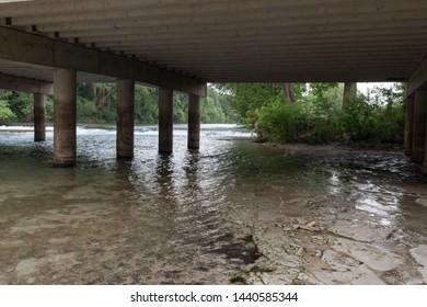 River under bridge in New braunfels texas