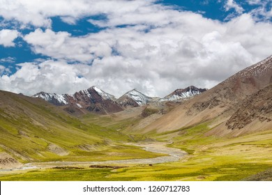 River under the snow capped mountains of the Qinghai Tibet Plateau