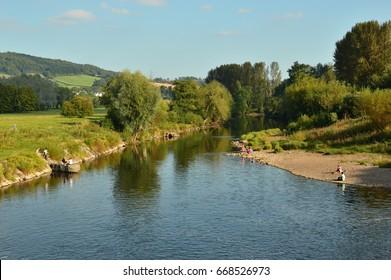 The river Usk near Abergavenny, Wales.