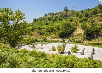 River Valley  Landscape Albania Tepelena Countrysside river beach