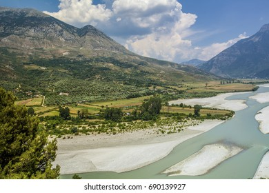 River Valley and Mountains  Landscape Albania Tepelena Countryside