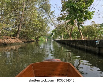 River view from long tail boat transportation, beautiful nature background