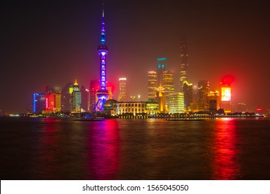 River View of the Skyline of the Pudong Area, Shanghai, China. Beautiful cityscape in the night lights.