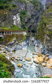 River view and tunnel in Taroko gorge national park Hualien in Taiwan