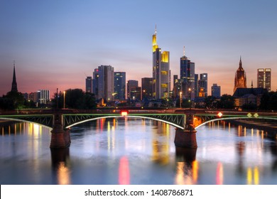 River view at twilight of Frankfurt am Main in Germany (Hesse).