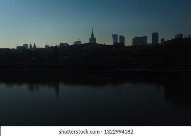 The river Vistula with the silhouette of Praga Warsaw in the background