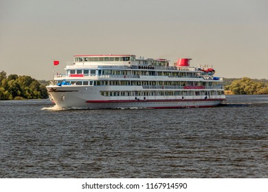 River Volga in summer near the village of Emmaus near town of Tver and  White Motor ship (motor vessel). cruise