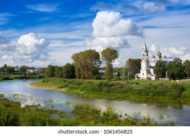 River Vologda and church of the Presentation of the Lord was built in 1731-1735 years in Vologda, Russia