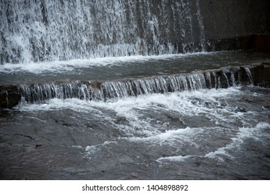 River water falling from dam wall