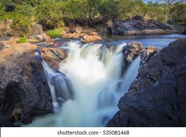 River Water Flow long exposure photography, Jomlu Theertha Falls, Udupi, Karnataka, India
