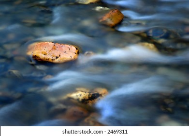 River water flowing past solid rocks
