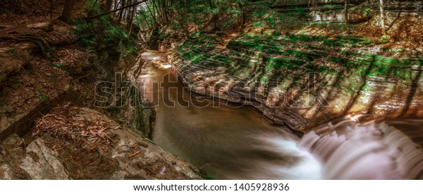A river and waterfall in Buttermilk Falls, near Ithaca, New York