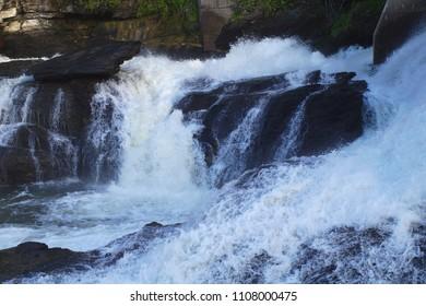 river waterfall creek stone water splash rock environment