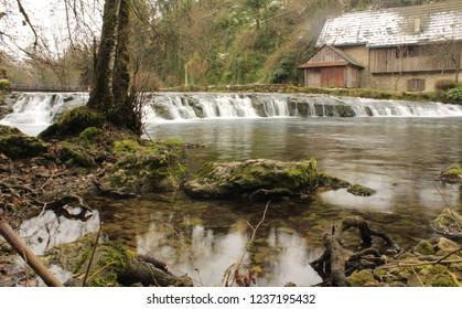 River Slunjčica waterfall, old watermill house in Slunj, Croatia.