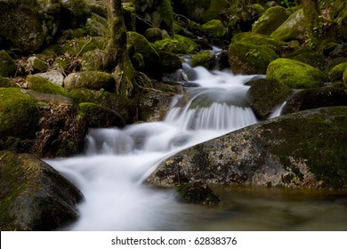 river waterfall in the portuguese national park of Geres, in the north of the country, the only portuguese national park