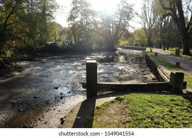 The River Wey Navigation at Milmead in Guildford, which had drained after the Tumbling Bay Weir collapsed on the 02/11/2019