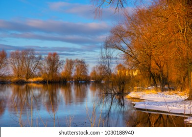 River in winter at evening