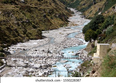 The River in winter : Mana Village, Badrinath, Uttarakhand, India
