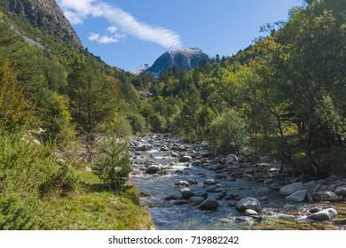 River within Aiguestortes  National Park, Vall de Boi, Lleida, Catalonia, Spain