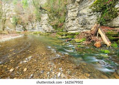 River wutach along a lime stone wall