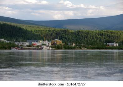 The river Yukon in Dawson City in Yukon, Canada