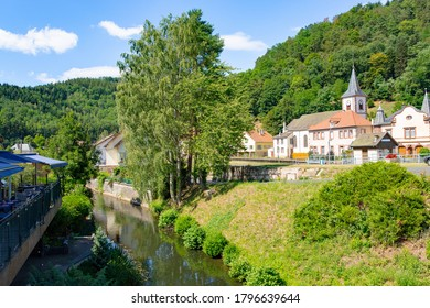 The river Zorn aside the Canal Marne-Rhine in Lutzelbourg, Alsace, France