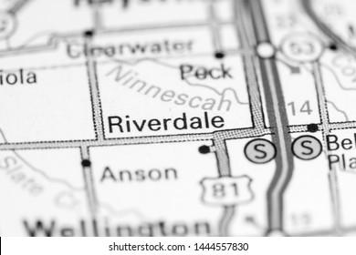 Riverdale. Kansas. USA on a map