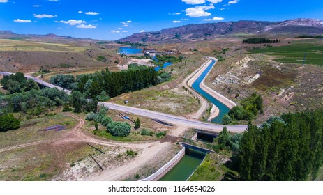 River,dam and road. Dam water. Sivas city and TURKEY. Aerial shot.