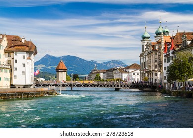 Riverfront in Lucerne, Switzerland
