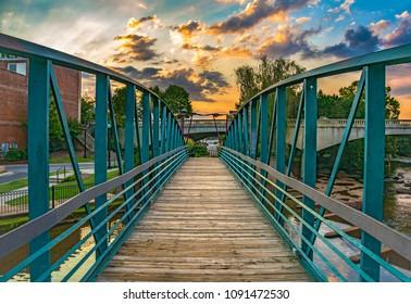 RiverPlace Bridge at sunrise on Main Street in Downtown Greenville South Carolina