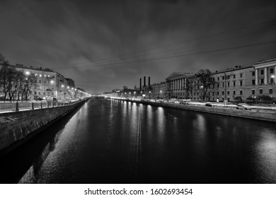 Rivers and canals of St. Petersburg on a winter night, Russia. - Shutterstock ID 1602693454