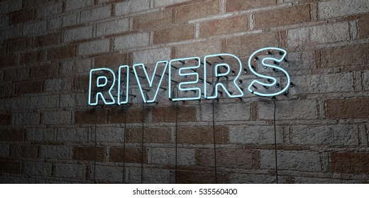 RIVERS - Glowing Neon Sign on stonework wall - 3D rendered royalty free stock illustration.  Can be used for online banner ads and direct mailers.