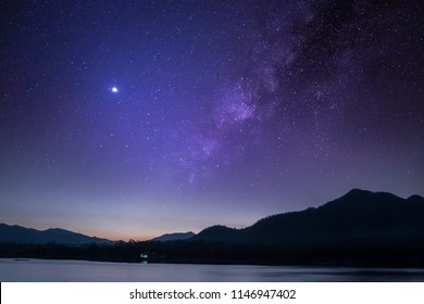 Rivers, mountains, stars and the Milky Way in the night sky.