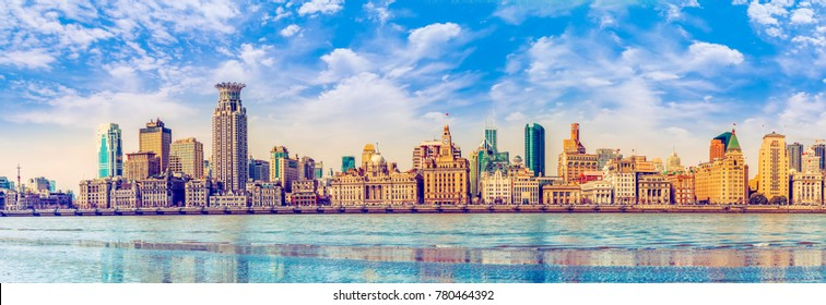 Rivers and old buildings in the Bund, Shanghai