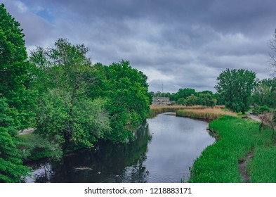 Rivers and trees in Back Bay Fens, an urban parkland, in Boston, USA