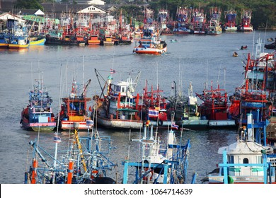 riverscape of tradition fishery ship along pattani river,main business is fishering industry