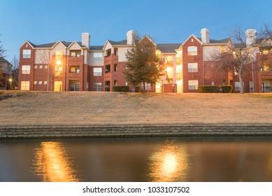 Riverside apartment at evening in America