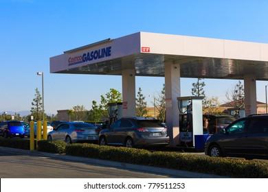 RIVERSIDE, CA, USA - DEC, 21, 2017: Costco Gas Station, Business Sign says Costco Gasoline with Company Logo.