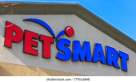 RIVERSIDE, CA, USA - DEC, 21, 2017: PetSmart Business Sign Company Logo on the storefront wall.