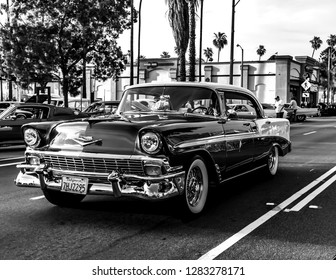 Riverside, Ca U.S.A.  May 5, 2017 56 Chevrolet Bel Air cruising down the street at a local Cinco De Mayo car meet