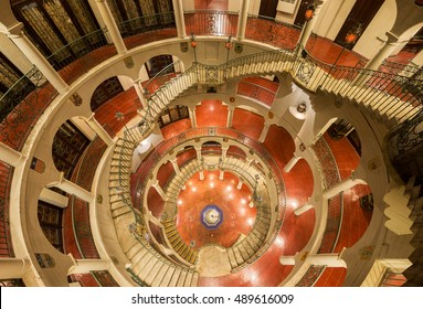 RIVERSIDE, CALIFORNIA - AUGUST 4: Spiral staircase at The Mission Inn Hotel & Spa on Mission Inn Avenue on August 4, 2016 in Riverside, California