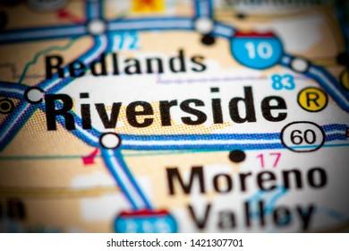 Riverside. California. USA on a map